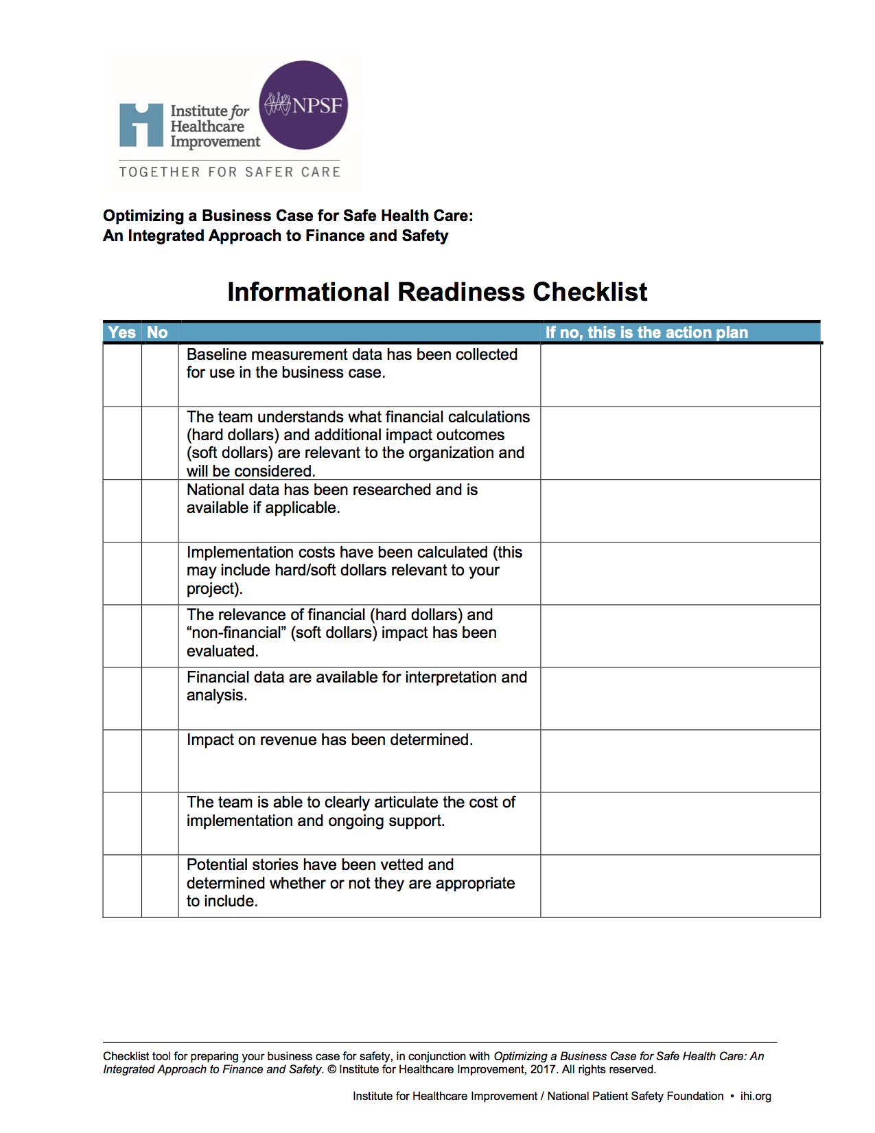 Psb Apr2018 Up Front Business Case Safe Health Care Informational Readiness Checklist