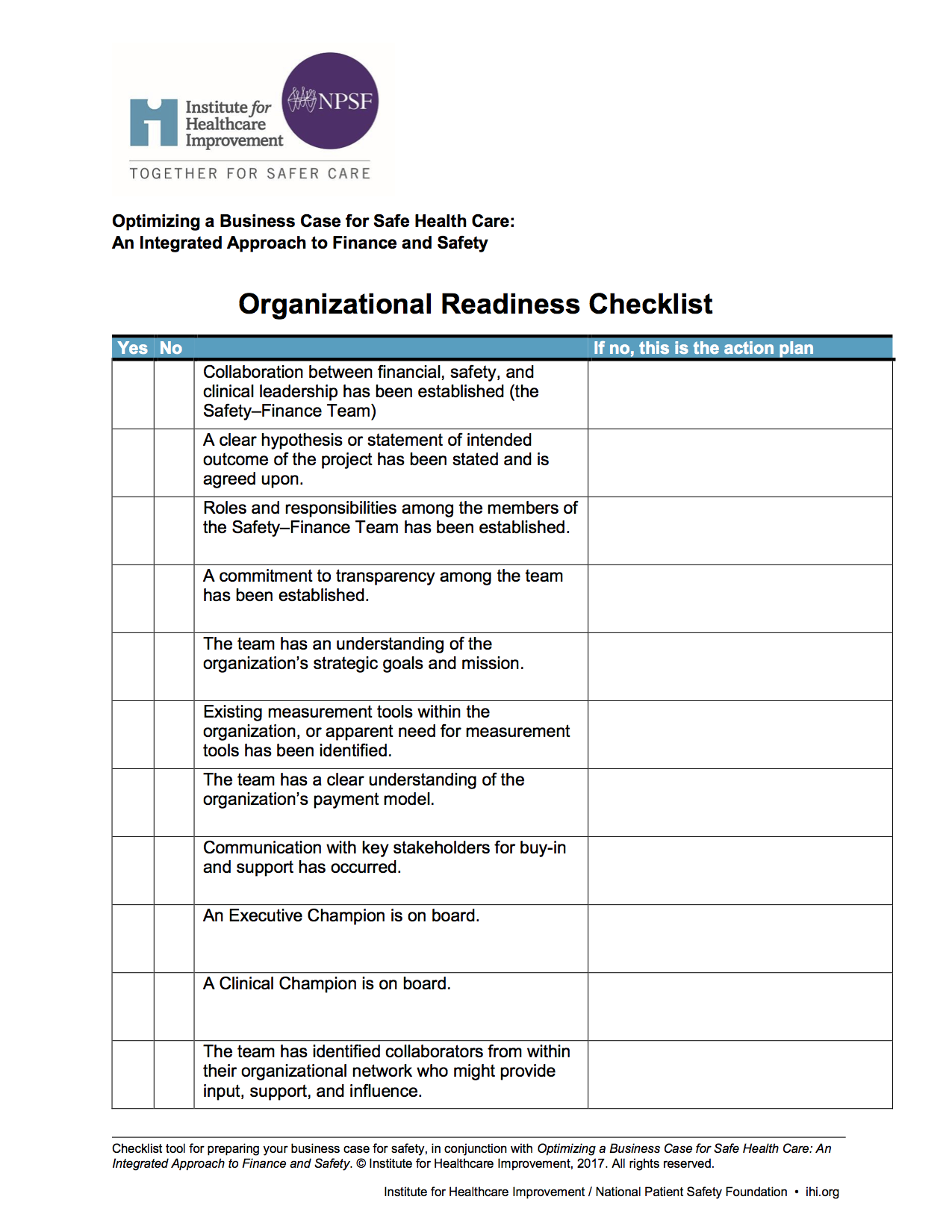 Psb Apr2018 Up Front Business Case Safe Health Care Organizational Readiness Checklist